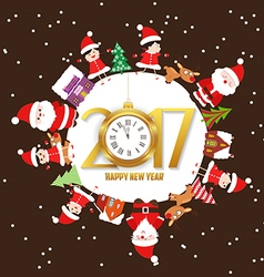 Merry christmas and happy new year 2017 with kids vector