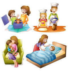 mother and child doing different activities vector image vector image