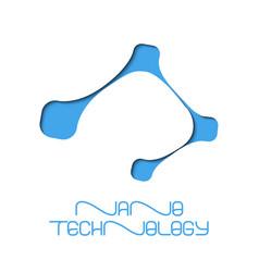 Nano technology flat logo design vector