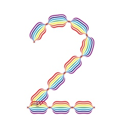 Number 2 made in rainbow colors vector image