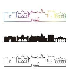 Pune skyline linear style with rainbow vector