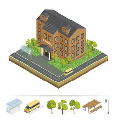 School building modern school urban scene vector