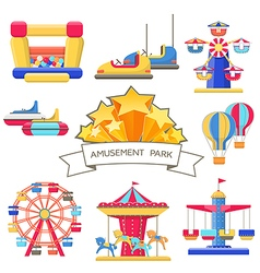 Set of amusement park elements vector image