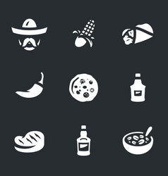 Set of mexican food icons vector