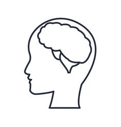 Silhuette human head man with brain thinking vector