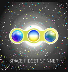 Space fidget spinner toy with two blades vector