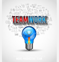 Teamwork borchure template with hand drawn vector