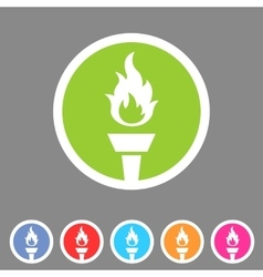 Torch flame fire icon flat web sign symbol logo vector