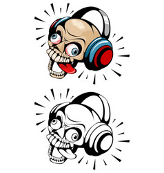 two skulls with headphones vector image