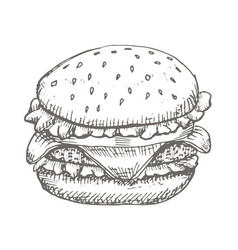 vintage burger drawing hand drawn vector image vector image
