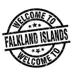 welcome to falkland islands black stamp vector image vector image