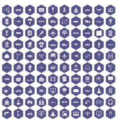 100 engineering icons hexagon purple vector
