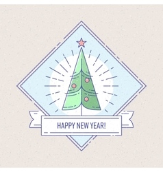 Vintage badge or labels with christmas tree vector