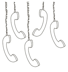 Silhouette multiple handset hanging of the cord vector