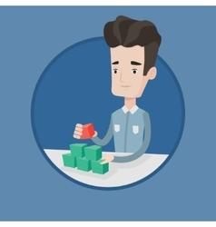 Man building social network pyramid vector image