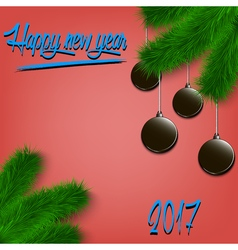 Hockey pucks on Christmas tree branch vector image