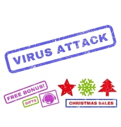Virus attack rubber stamp vector