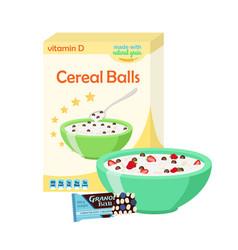 breakfast set - milk cereal granola berries vector image