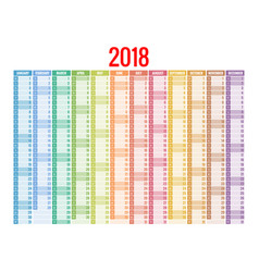 2018 calendar print template week starts sunday vector