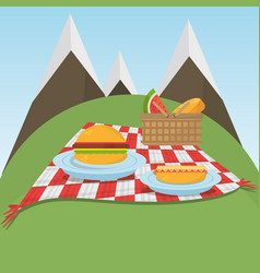 picnic checkered blanket with food and mountains vector image