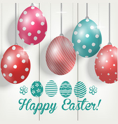Easter colorful eggs on wooden background vector