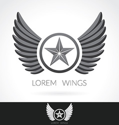 Wing abstract logo template with star in the vector