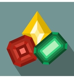 Colored gemstones flat icon vector