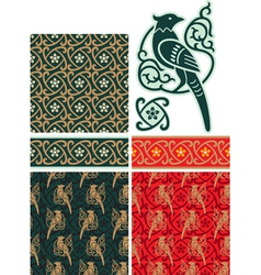 Bird Border and Seamless Pattern vector image