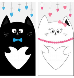 black white cat kitty family couple holding heart vector image