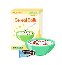 Breakfast set - milk cereal granola berries vector