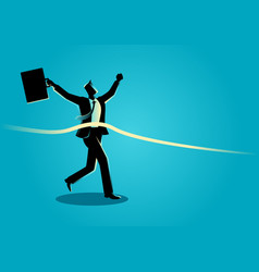 Businessman at finish line vector