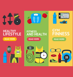 Cartoon fitness sport banner vecrtical set vector