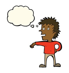 Cartoon man making dismissive gesture with thought vector