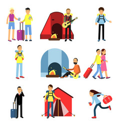 cartoon men and women tourists characters set vector image