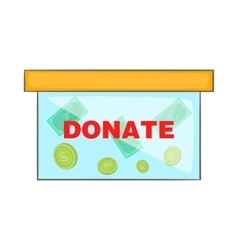 Coins in donate box icon cartoon style vector