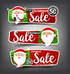 collection of christmas sale red and green web vector image
