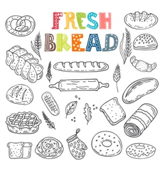 collection of fresh bread Hand drawn sketch style vector image