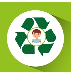 Cute boy eco recycle icon vector