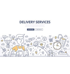Delivery doodle concept vector