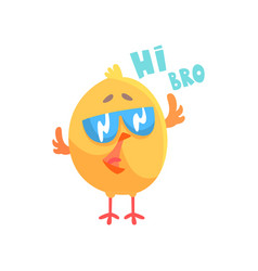 Funny cartoon comic chicken with phrase hi bro vector
