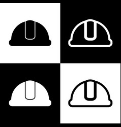 hardhat sign black and white icons and vector image
