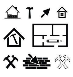 house work tool set in black color vector image