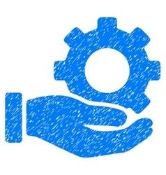 Mechanic gear service hand grainy texture icon vector