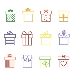 Multicolor gift boxes thin line icons set vector