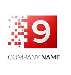 number nine logo symbol in the colorful square on vector image vector image