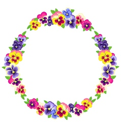 Pansy wreath round vector