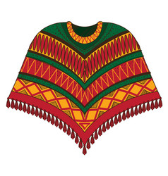 Poncho traditional latin american clothes vector