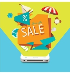 Sales of goods through the mobile device vector image vector image