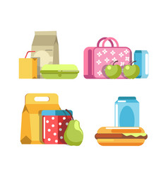 School lunch and meal boxes breakfast food vector