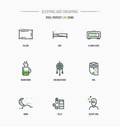 sleep icon set vector image vector image